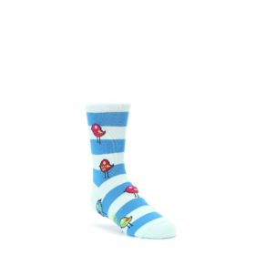 junior kids blue stripe baby bird novelty socks