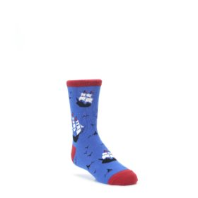 Blue Sailing Ship Kid's Dress Socks