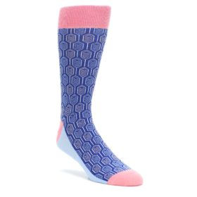 Blue-Pink-Feather-Optics-Mens-Dress-Socks-Statement-Sockwear