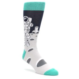 Gray-Teal-Space-Astronaut-Mens-Dress-Socks-Statement-Sockwear