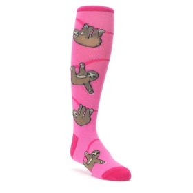 pink brown sloths kids novelty dress socks sock it to me
