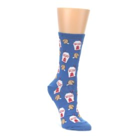 Blue Chinese takeout food womones novelty blue dress socks socksmith