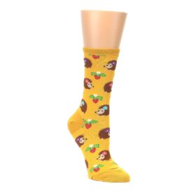 yellow brown hedgehog womens novelty dress socks socksmith