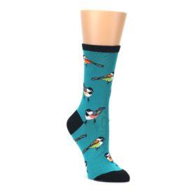Lagoon Blue Chickadee Bird Women's Dress Socks