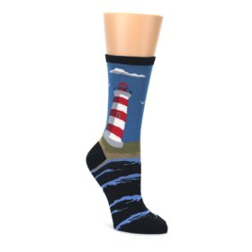 Blue Red White Lighthouse Women's Dress Socks