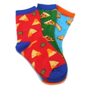 24231SS-7-10Y-Cheesy-Food-Kids-Dress-Socks-3-Pairs-Socksmith01