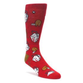 Red-Chinese-Take-Out-Food-Mens-Casual-Socks-Odd-Sox