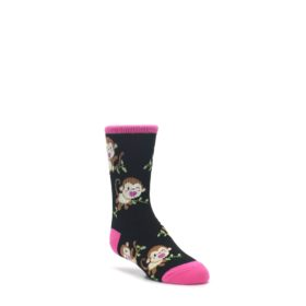 Black-Pink-Monkey-Kids-Dress-Socks-K-Bell
