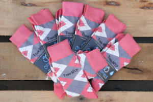 Coral and Gray Argyle Customized Date Groomsmen Dress Socks
