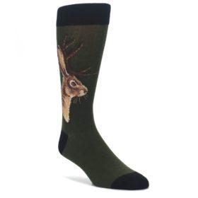 Green-Brown-Jackalope-Mens-Dress-Socks-Socksmith