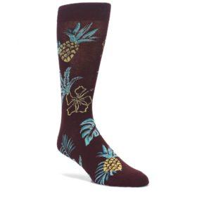 Brown-Blue-Hawaiian-Day-Mens-Dress-Socks-Sock-It-To-Me