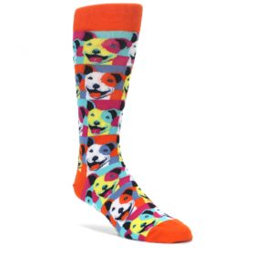 Orange-Multi-Color-Pitbull-Pop-Art-Mens-Dress-Socks-Mod-Sock