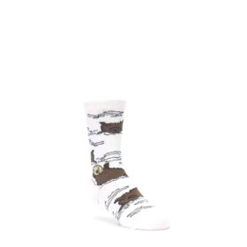 White-Brown-Otters-Kids-Dress-Socks-Wild-Habitat