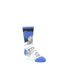 Blue-Gray-Howling-Wolf-Kids-Dress-Socks-Wild-Habitat