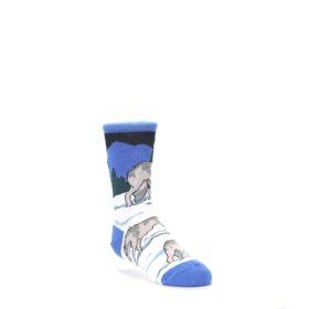 Blue-Gray-Howling-Wolf-Kids-Dress-Socks-Wild-Habitat