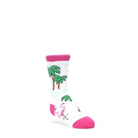White-Pink-Flamingos-Kids-Dress-Socks-Wild-Habitat