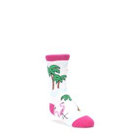 White-Pink-Flamingos-Kids-Dress-Socks-Wild-Habitat