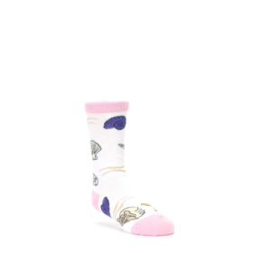 White Pink Seashells Kid's Dress Socks