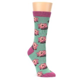 Mint-Pink-Lotus-Flower-Bambo-Womens-Dress-Socks-Socksmith