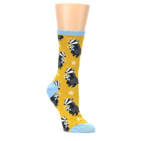 Yellow-Bashful-Badger-Womens-Dress-Socks-Socksmith