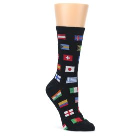 Black-Multi-World-Flags-Womens-Dress-Socks-Socksmith