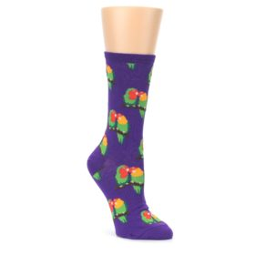 Purple-Multi-Love-Birds-Womens-Dress-Socks-Socksmith