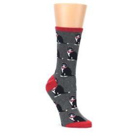 Gray-Black-Tuxedo-Cats-Womens-Dress-Socks-Socksmith