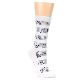 White-Black-Music-Notes-Womens-Dress-Socks-K-Bell-Socks