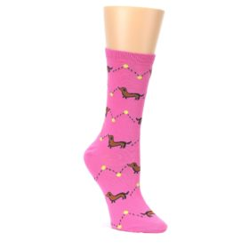 Pink-Brown-Wiener-Dog-Womens-Dress-Socks-K-Bell-Socks