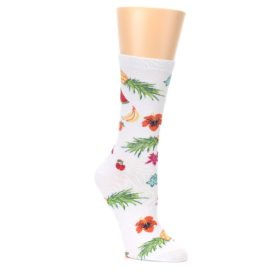 White-Multi-Tropical-Fruit-Flowers-Womens-Dress-Socks-K-Bell-Socks