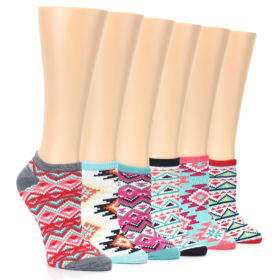 24596-Aztec-Print-Womens-Ankle-Sock-6-Pairs-Group-Shot