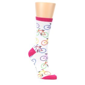 White-Multi-Bicycle-Womens-Dress-Socks-K-Bell-Socks