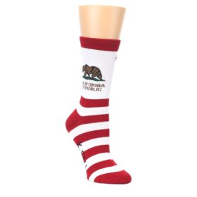 Red-White-California-Flag-US-Made-Womens-Dress-Socks-K-Bell-Socks