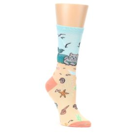 Tan-Blue-Beach-Cat-Mermaid-Womens-Dress-Socks-K-Bell-Socks