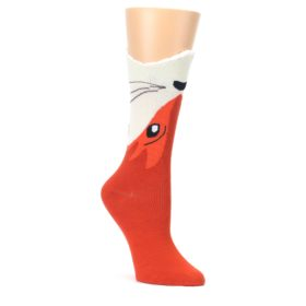 Orange-Wide-Mouth-Fox-Womens-Dress-Socks-K-Bell-Socks