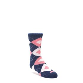 Flamingo-Petal-Pink-Navy-Argyle-Junior-Groomsmen-Kids-Dress-Socks-Statement-Sockwear