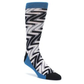 Gray-Black-Z-Pattern-Mens-Dress-Socks-Ballonet-Socks
