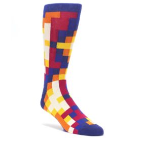 Blue-Multi-Checkered-Mens-Dress-Socks-Ballonet-Socks