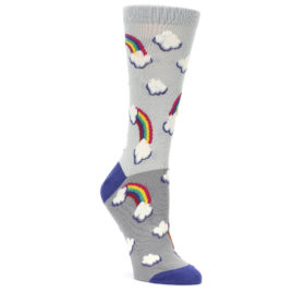 Gray Rainbows Clouds Women's Dress Socks