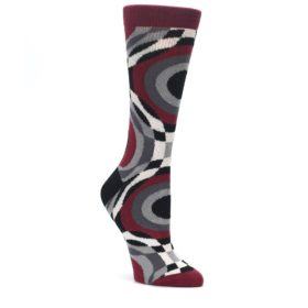Maroon-Gray-Hypnotic-Swirl-Womens-Dress-Socks-Ballonet-Socks