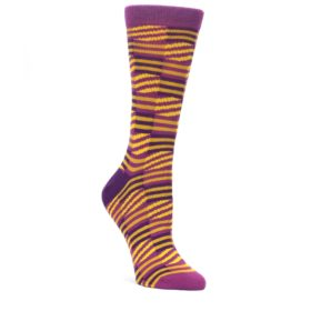Purple-Yellow-Checkered-Stripes-Womens-Dress-Socks-Ballonet-Socks