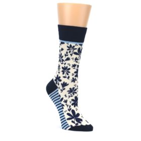 Navy-Cream-Floral-Womens-Dress-Socks-Yo-Sox
