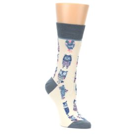 Cream-Blue-Pink-Owls-Womens-Dress-Socks-Yo-Sox
