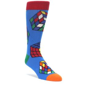 Blue Multi Rubik's Cube Men's Dress Socks