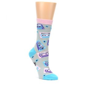 Gray-Pink-Cassette-Mix-Tapes-Womens-Dress-Sock-Sock-It-To-Me