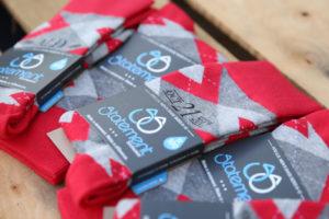 Valentina Red Gray Argyle Customized Monogram Groomsmen Dress Socks