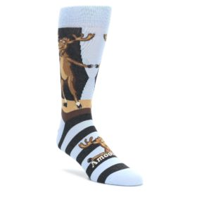 Brown-Light-Blue-Amoosing-Moose-Mens-Dress-Socks-Statement-Sockwear