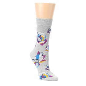 Gray-Blue-Purple-Floral-Womens-Dress-Socks-Happy-Socks