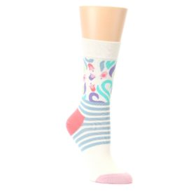 Cream-Pink-Floral-Stripe-Womens-Dress-Socks-Happy-Socks