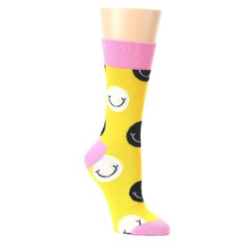 Yellow-Smiley-Face-Womens-Dress-Socks-Happy-Socks